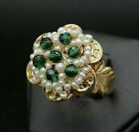 anello stile antico perla agata verde argento GIOIELLO ITALIANO da donna