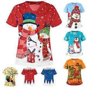 Medical Nursing UNIFORMS Tops Scrubs Lab Christmas Coats Women V Neck T Shirts