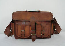 16x12 Vintage Leather DSLR Camera Bag Briefcase Macbook Satchel Attache Suitcase
