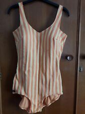 Nelbarden Vintage Swimsuit Swimming Costume Orange Yellow Stripe Size 38