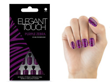 Elegant Touch Design Nails With Adhesive Tabs Purple Zebra
