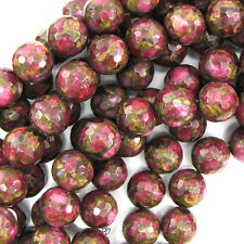 """14mm faceted ruby red pressed golden jade round 7.5"""" strand 14 pcs"""