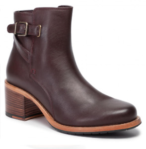 Clarks Clarkdale Jax Womens UK 6D Burgundy Leather Zip Buckle Heeled Ankle Boots