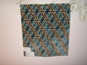 "Lee Jofa, Groundworks, Welbeck, Geometric Velvet, 16"" W X 18"" L,, Clr Aqua/Taupe"