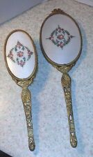 HAND MIRROR AND BRUSH APOLLO VINTAGE GUILLOCHE RARE BRUSH AND  MIRROR PINK ROSES