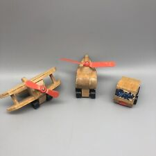 Vintage 1972 Mattel Wood Toys:  Biplane Plane, Helicopter, Truck Lo