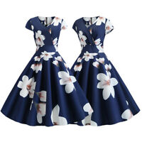 Women Summer Floral Print Dress Casual V Neck Casual Party Vintage Swing Dress