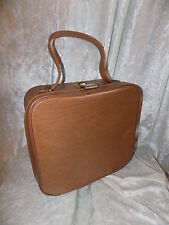 60s 70s vintage tan faux leather vanity case weekend case train case with key!