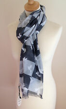 NEW 100% COTTON UNISEX GREY MONOCHROME CONTEMPORARY PRINT SCARF BY JUNIPER