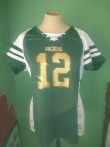 Green Bay Packers Rodgers #12 NFL Majestic Fan Fashion GOLD Sequin Large Shirt