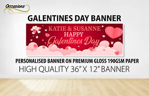 """Galentines Day Personalised Banner 36"""" x 12"""" Premium 190gsm Gloss Paper - Red"""