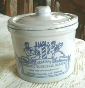 """VINTAGE STONEWARE CROCK """"SCHNIPP'S ARTISTIC TONSORIAL SALOON"""" WITH LID"""