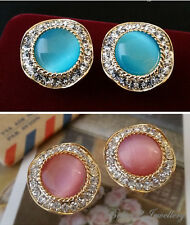 Large Pinp/Blue Simulated Opal crystal stud Earring/Gold plated/RGE520/548
