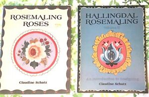 ROSEMALING HALLINGDAL CLAUDINE SCHATZ 1984 MULTI PATTERN PAINTING 2 BOOKLETS