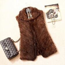 Genuine Knitted Brown Mink Fur Vest Sleepless Jacket from Luxor Leathers & Furs
