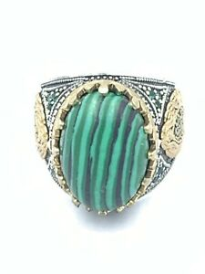 Natural Agate Malachite Stone Sterling Silver 925 Handmade Men's Ring Size 9.5
