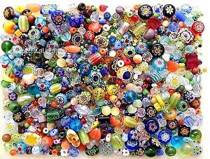 1/4 LB Assorted Czech Glass Millefiori Flowers Cat Eye Bulk Lot Spacer Beads