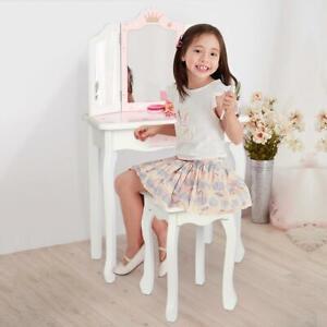 Children Girls Vanity Makeup Kids Dressing Table Set w/Stool Drawer & Mirror US