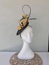 Ladies Black & Yellow Sinamay Feather Headband Fascinator Wedding Races