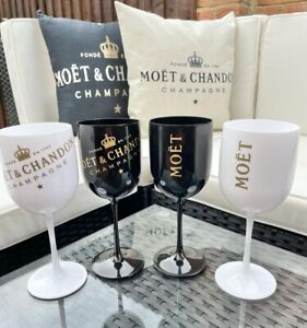 Brand New Moet And Chandon Acrylic Outdoor Glasses White /Black Set Of 2