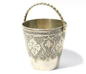 Antique 84 Persian Silver Miniature Bucket Shaped Tea Spirit Cup Condiment Pot ?
