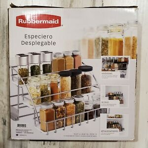 Rubbermaid Pull Down Spice Rack Silver White Attaches to Wood Shelving