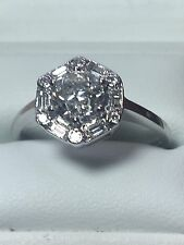18 ct. 18k. 750. Or Blanc Bague Diamant, Taille N 1/2. U.S. Taille 7.25. 1.26. TCW