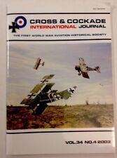 WWI Aviation Historical Cross & Cockade International Journal Vol 34 NO 4 2003