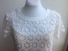 Collette By Collette Dinnigan White Guipure Daisy Lace Dress with beige Slip M