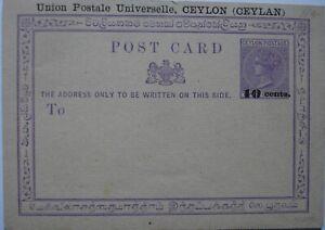 Victoria: 10 cents on 2 cents mauve Postcard. Mint.