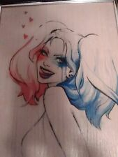 Harley Quinn Water Color Framed Fan Art Wooden Wall Hanging