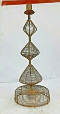 VINTAGE HANDMADE IRON RUSTIC WIRE CANDLE STAND