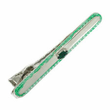 Tie Clasp Clip Mens Silver Tone Retro Design Crystal Navette Emerald Green