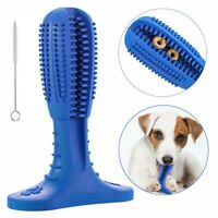 Dog Toothbrush Chew Toy Dental oral Care Brush Stick Natural Rubber pet FDA blue