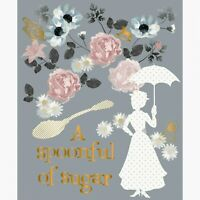 """MARY POPPINS FABRIC PANEL w/ METALLIC 35""""x45"""" QUILTING SPOONFUL OF SUGAR CAMELOT"""
