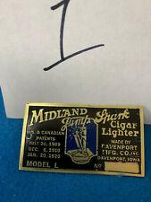 MIDLAND JUMP SPARK CIGAR LIGHTER  BRASS PLAQUE - NOT ELDRED, HAWKEYE, SIMPLEX