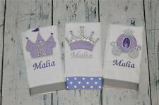 Princess Personalized Burp Cloth set 3 Girls  Burp Cloths lavender and silver