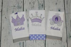 Princess Personalized Burp Cloth set 3 Girls  Burp Cloths lavender and silver