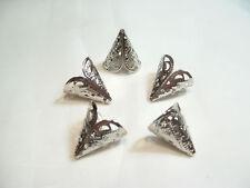 BNCBC13 ST: 20 x Silvertone Filigree Cone Bead End Caps