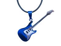 Pendentif guitare électrique en acier + cordon en cuir noir.