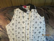 BODY CENTRAL BLOUSE TOP SHIRT SIZE S SHEER SLEEVELESS BUTTON FRONT WHITE PRINT