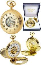 Woodford Twin-Lid Half Hunter Skeleton Pocket Watch, 17 Jewel Gold-Plated (1077)