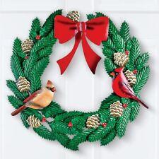 "16"" Diameter 3 Dimensional Metal Cardinal Christmas Door Wall Wreath"