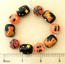 Halloween Beads Hand Painted Glass Spider Web Moon Stars Dots Black Orange Beads