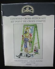 DMC Little Girl Chloe Painting Cross Stitch Kit K4406 Easel 5x7 England Sealed