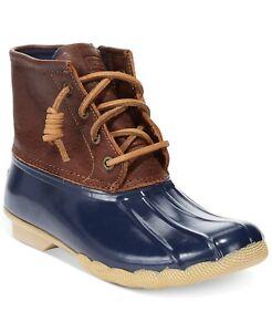 Sperry Women's Saltwater Duck Bootie Size 6.5M Tan/Navy Leather, MSRP $130