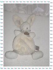 S - Doudou Lapin Blanc Taupe  Collection Doudou Bonbon Doudou et Compagnie