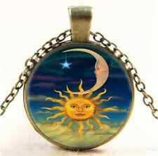 Sun Moon And Star Cabochon Glass Tibet Silver Chain Pendant Necklace