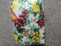 "Vintage NEW 48"" Round tablecloth - FRUIT Grapes Lemons Flowers"