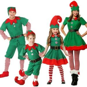Adult Kids Christmas Elf Cosplay Costume Xmas Perform Clothes Fancy Dress Outfit